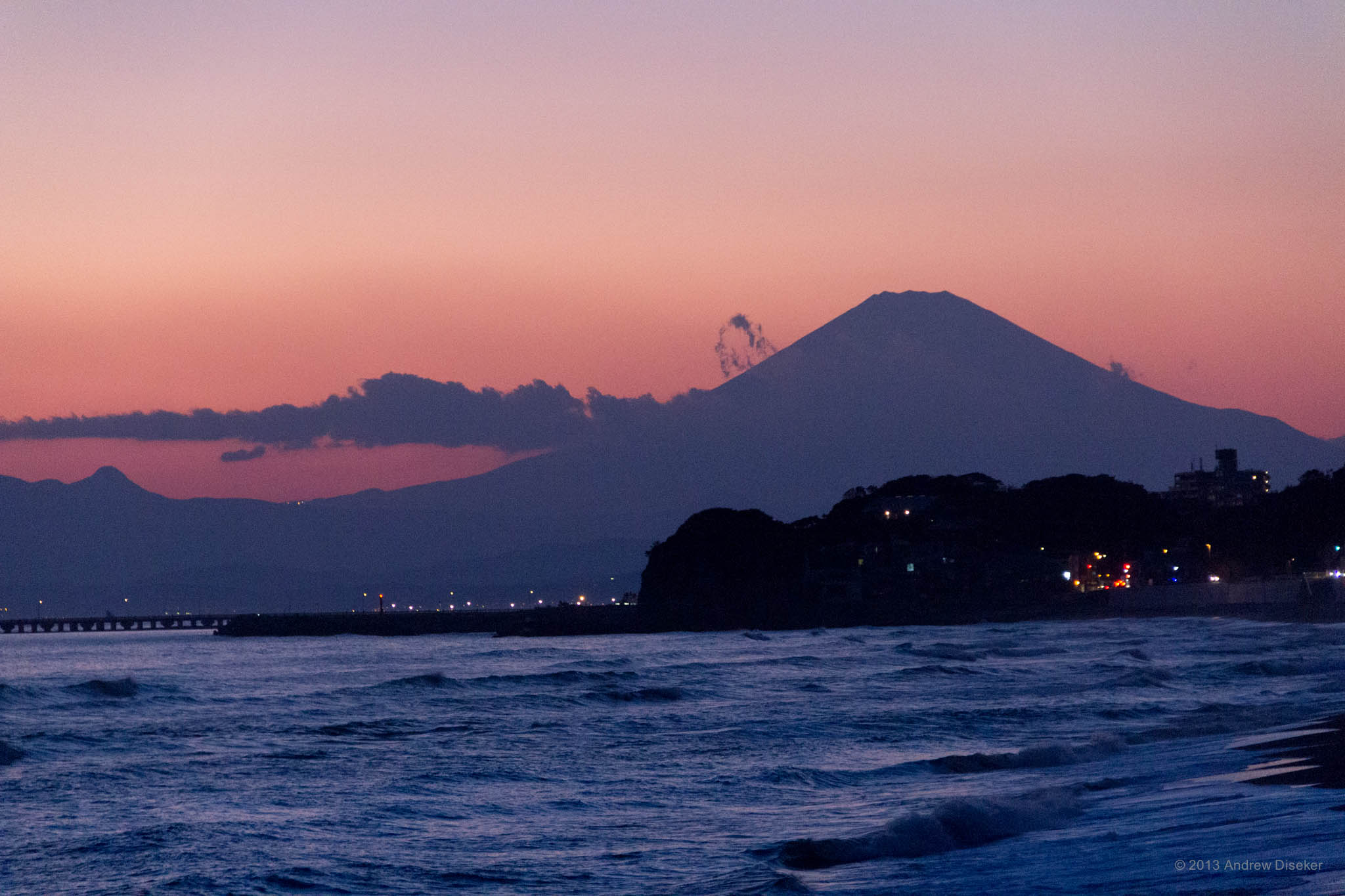 Mount Fuji after sundown